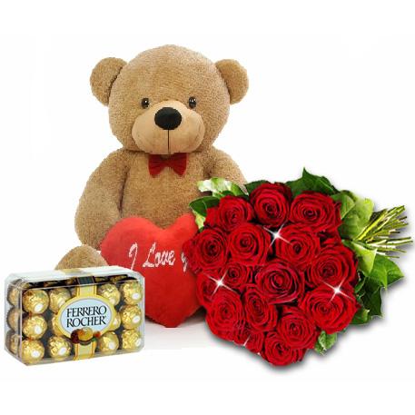 """""""Только для тебя!"""". Красные розы, плюшевый мишка и конфеты"""