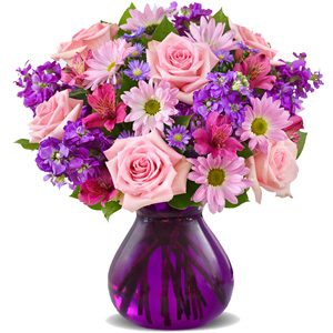 """""""Лиловые мечты"""". Букет роз и хризантем"""